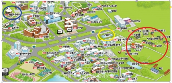 The blue circle is the Health Care Service Center, and the yellow circle is the 'Geoul Mot,' and the red circle is the 'Love Road.'